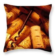 Corkscrew And Wine Corks Throw Pillow by Garry Gay