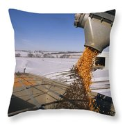 Corn Pours From An Auger Into A Grain Throw Pillow by Joel Sartore