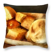 Cornbread And Rolls Throw Pillow by Susan Savad