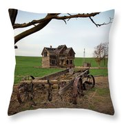 Country Home And Wagon Throw Pillow by Athena Mckinzie