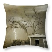 Country Horses Lightning Storm Ne Boulder Co 66v Bw Art Throw Pillow by James BO  Insogna