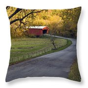 Country Lane - D007732 Throw Pillow by Daniel Dempster