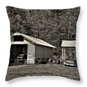 Country Life Sepia Throw Pillow by Steve Harrington