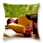 Countryside Wine  Cheese And Fruit Throw Pillow by Elaine Plesser