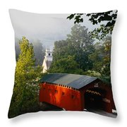 Covered Bridge Throw Pillow by Rafael Macia and Photo Researchers