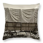 Covered Wagon Sepia Throw Pillow by Steve Harrington