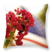 Crapemyrtle And Patriotic Proud Throw Pillow by Toni Hopper