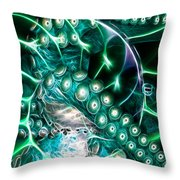 Creatures of The Deep - Octopus Caught In The Swirl Of The Giant Nautilus - Electric - Cyan Throw Pillow by Wingsdomain Art and Photography