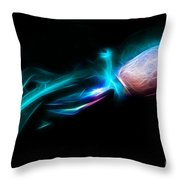 Creatures of The Deep - The Octopus - v5 - Electric - Cyan Throw Pillow by Wingsdomain Art and Photography