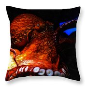 Creatures of The Deep - The Octopus - v6 - Orange Throw Pillow by Wingsdomain Art and Photography