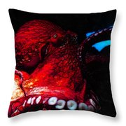 Creatures Of The Deep - The Octopus - V6 - Red Throw Pillow by Wingsdomain Art and Photography