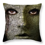 Creepy Cracked Face With Tears Throw Pillow by Jill Battaglia