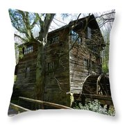Cross Eyed Cricket Grist Mill Throw Pillow by Paul Mashburn