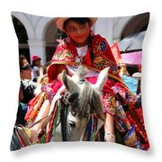 Cuenca Kids 70 Throw Pillow by Al Bourassa