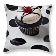 Cupcake With Cherry Throw Pillow by Garry Gay