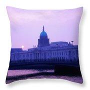 Custom House, Dublin, Co Dublin, Ireland Throw Pillow by The Irish Image Collection
