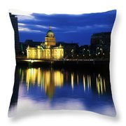 Customs House And Liberty Hall, River Throw Pillow by The Irish Image Collection