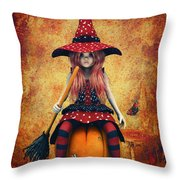 Cutest Little Witch Throw Pillow by Jutta Maria Pusl