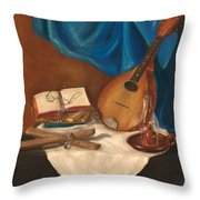 Dad's Mandolin Throw Pillow by Kathy Wood
