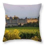Dawn In Carcassonne Throw Pillow by Brian Jannsen