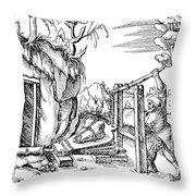 De Re Metallica, Bellows, 16th Century Throw Pillow by Science Source