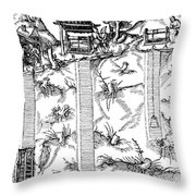 De Re Metallica, Mine Shafts, 16th Throw Pillow by Science Source