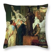 Dealer In Statues  Throw Pillow by Sir Lawrence Alma-Tadema