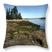 Deer Isle Granite Shore Throw Pillow by Thomas R Fletcher