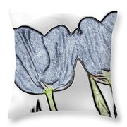 Denim Tulips Throw Pillow by Cheryl Young