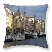 Denmark, Copenhagen, Nyhavn, Boats Throw Pillow by Keenpress