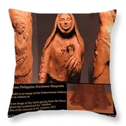 Details Of Symbols On Saint Rose Philippine Duchesne Sculpture. Throw Pillow by Adam Long