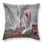 Dinner Time Throw Pillow by Debra  Miller