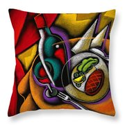 Dinner With Wine Throw Pillow by Leon Zernitsky