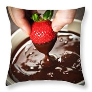 Dipping Strawberry In Chocolate Throw Pillow by Elena Elisseeva
