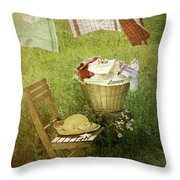 Distressed photo of wash day  Throw Pillow by Sandra Cunningham
