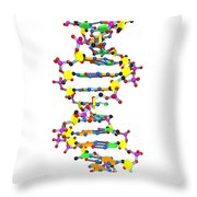 Dna 37 White Throw Pillow by Russell Kightley