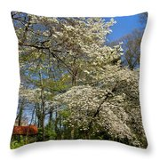 Dogwood Grove Throw Pillow by Debra and Dave Vanderlaan