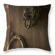 Door knocker of the Basilica Saint-Julien. Brioude. Haute Loire. Auvergne. France. Throw Pillow by BERNARD JAUBERT