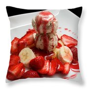 Double Scoop Strawberry Banana Shortcake Throw Pillow by Andee Design