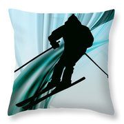 Downhill Skiing On Icy Ribbons Throw Pillow by Elaine Plesser