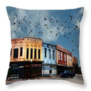 Downtown Bryan Texas 360 Panorama Throw Pillow by Nikki Marie Smith