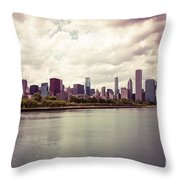 Downtown Chicago Skyline Lakefront Throw Pillow by Paul Velgos