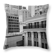 Downtown San Francisco Buildings - 5D19323 - Black and White Throw Pillow by Wingsdomain Art and Photography