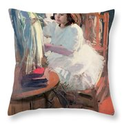 Dressing Her Doll Throw Pillow by Claudio Castelucho