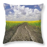 Dried Up Machinery Tracks Throw Pillow by Dave Reede