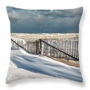 Drifting Snow Along The Beach Fences At Nauset Beach In Orleans  Throw Pillow by Matt Suess