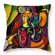 Drinks Throw Pillow by Leon Zernitsky