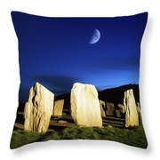 Drombeg, County Cork, Ireland Moon Over Throw Pillow by Richard Cummins