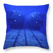 Dual Dry Deck Shelters Mounted Throw Pillow by Michael Wood