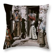 Dude Ranch Guests Pretend To Be Cowboys Throw Pillow by Clifton R. Adams